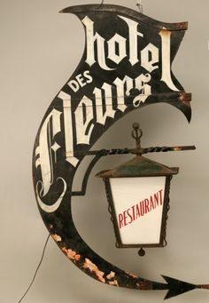 Awesome! Vintage sign/lamp Makes me want to go find an architectural salvage shop