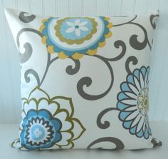 Blue Yellow Floral Pillow Covers   Throw door PookadellasHomeDecor, $21.00