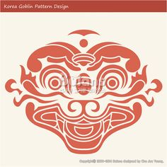 한국의 도깨비 문양 패턴디자인. 한국 전통문양 패턴 디자인 시리즈. (BPTD020256) Korea Goblin Pattern Design. Korean traditional Design Series. Copyrightⓒ2000-2014 Boians.com designed by Boians Cho Joo Young.