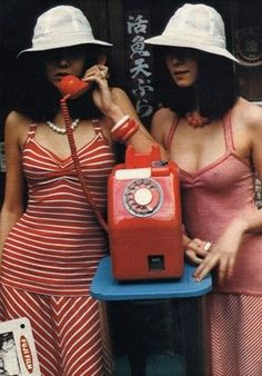 1970s Retro fashion and design - Red phone and twins in red stripe summer outfits - For more retro inspiration follow my boards @anthileoni