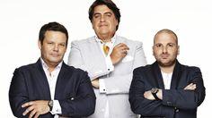 Gary Mehigan, Matt Preston et George Calombaris, juges de MasterChef Australie Master Chef, Gary Mehigan, Masterchef Australia, Film Books, Music Tv, Preston, All Over The World, Tv Series, Tv Shows