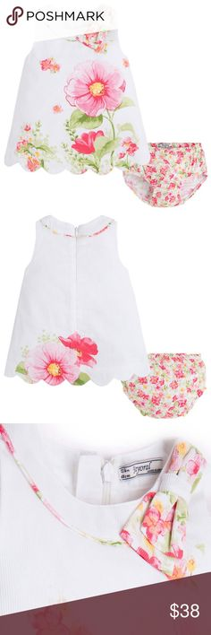 Baby Girl 3M-24M Pink/White Floral Print Dress Baby Girl 3M-24M Pink/White Floral Print A-line Dress newborn infant baby girls • dresses • A-line • floral print • sleeveless • round neckline • back zipper •  matching bloomer • pink/white • casual-social party dress • Spring/Summer • Mayoral • www.iPovePouBoutique.com • bbni • myr-01936   Available Colors: Blue, Pink Mayoral Dresses