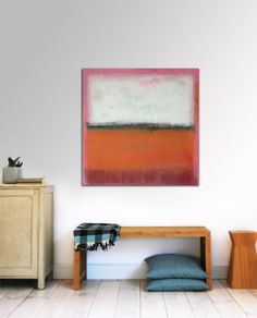 """Original Abstract painting - RAW Orange and Pink - Acrylic painting - 31,5"""" (80cm) x 31,5"""" (80cm) op Etsy, 218,72€"""