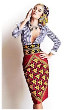 African Pencil Skirt. This skirt is made from Ankara print fabric with a high waist, pencil fit and back vent It fastens with a zip at the back, is fully lined and is made from 100% African print cotton. (affiliate)