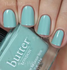 "Butter London: Brilliant Bronze Trio - ""Poole"" is a beautiful muted aqua creme.  This has a spectacular formula"