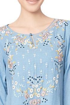 Buy Blue cotton georgette embroidered ishira tunic by Anita Dongre at Aza Fashions Embroidery Suits Design, Embroidery Dress, Embroidery Designs, Zardozi Embroidery, Hand Embroidery, Kurti Neck Designs, Blouse Designs, Gota Patti Saree, Chic Summer Style