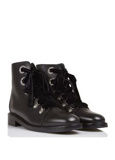 Boots en cuir à lacets velours  Noir by CLAUDIE PIERLOT