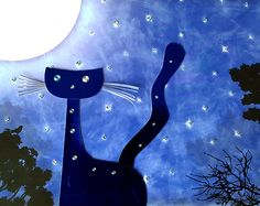 Starpoint Terrace - print (part of series Tails From Under The Moon Shaped Cheese) - artwork by Rita Dabrowicz Under The Moon, Moon Shapes, How To Make Paper, Terrace, Collage, Cheese, Cats, Artwork, Shop