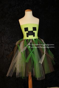 Custom Minecraft Creeper Inspired Tutu Dress- Perfect for Halloween, Birthdays, Disney Vacation, costumes, and dress up by GiGisCraftyCreationz on Etsy Minecraft Outfits, Cool Minecraft, Minecraft Redstone, Minecraft Cake, Minecraft Birthday Party, Creepers, Dress Up, Prom Dress, Cute Outfits