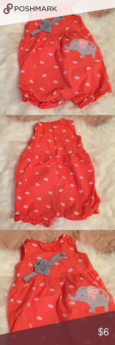 Elephant Print Romper 🐘 Beautiful coral and grey elephant print baby romper. Size 9 months. Comes with matching headband:) Carter's Matching Sets