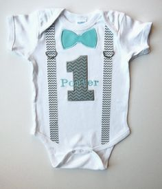 First Birthday Suspenders Outfit Personalized  Bow Tie 1 For 1st Birthday Boy…