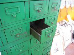 Twenty Gauge Vintage American Steel Furniture - Green steel card file cabinet Steel Furniture, Painted Furniture, Home Furniture, Furniture Design, Index Cards, Vintage Green, Kitchen And Bath, House Colors, Room Inspiration