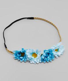 Blue Daisy Flower Crown Headband
