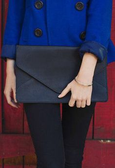 Leather Envelope Clutch / Black Leather