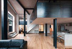 wharehouse-loft-restyling-london-ground-floor Interior Design Examples, Interior Design Minimalist, Minimalist Home, Interior Design Inspiration, Loft D'entrepôt, Casa Loft, Warehouse Renovation, Warehouse Home, Converted Warehouse