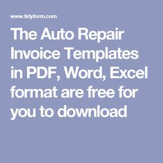 Advertising Ideas For Auto Repair Car Repair And Cars - Automotive repair invoice software free 99 cent store online
