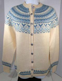 NWOT Vtg Nordstrikk Handknit Womens Cream Blue Norway Wool Cardigan Medium #nordstrikk #Cardigan