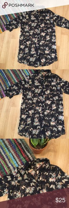 "Sheer floral kimono long blouse Sheer button up 1/2 sleeve blouse, super long and looks similar to a sheer kimono when opened.  Floral and butterfly pattern on navy.  Marked small, fits closest to a size 4.  Measurements: length 32"" bust 21"" sleeve 5"" when flat  Bundle & save!  Reasonable offers accepted. I ship the same or next day! No trades/off app sales From a smoke free home Kuose Tops Blouses"