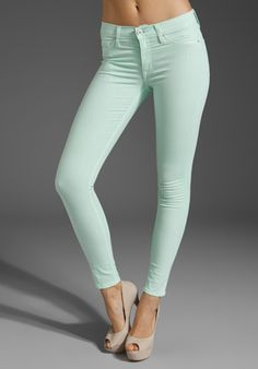 HUDSON JEANS Nico Midrise Super Skinny in Mint at Revolve Clothing.  Gorgeous color, very unique and summery.