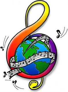 Treble clef around globe with notes on staff Music Pics, Music Artwork, Music Pictures, Music Stuff, Music Drawings, Music Painting, Sound Of Music, Kinds Of Music, My Music