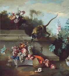 Jean-Baptiste Oudry - Nature morte avec singe fruits et fleurs, 1724.