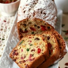 Delicious fruitcake  with rum and dried fruits and nuts. Recipe in Polish. To be translated by google.