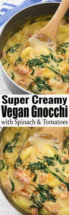 These vegan gnocchi with a creamy cashew sauce, spinach, and tomatoes are the perfect weeknight meal. It's super easy to make and incredibly comforting! One of my favorite vegetarian dinner recipes! Find more vegan recipes at veganheaven.org