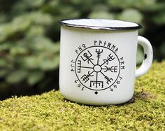 Hey, I found this really awesome Etsy listing at https://www.etsy.com/listing/246637622/white-enamel-mug-cup-viking-compass