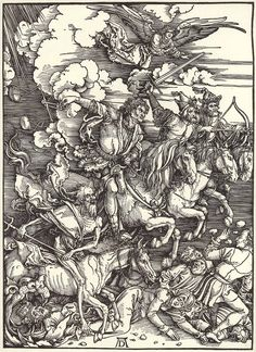 The Four Horsemen from The Apocalypse is a woodcut portrait with the dimensions of x cm. It illustrates a passage from the Book of Revelation. The Four Horsemen from The Apocalypse Albrecht Dürer 1498 Albrecht Durer, Les Quatre Cavaliers, Renaissance Kunst, High Renaissance, Renaissance Artists, Horsemen Of The Apocalypse, Apocalypse Art, Apocalypse Tattoo, Old Master