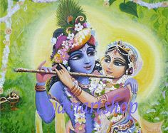 Lord of love with flute Krishna in black and gold by syamarts