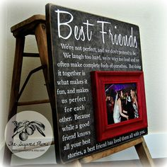 Bridesmaid Gift Best Friend Sister Maid of Honor Personalized Picture Frame16x16 Wedding Gift. $75.00, via Etsy.