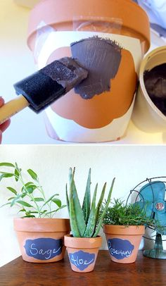 DIY: chalkboard planting pots for that indoor herb garden I want so bad Herb Garden, Garden Art, Herb Farm, Garden Trees, Tips And Tricks, Herbs Indoors, Painted Pots, Plantation, Clay Pots