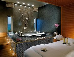 love the bathtub and the tree lights- makes it modern yet romantic