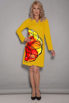 Yellow floral print, long  sleeves dress. Byme Collection  Www.BymeCreateYourStyle.etsy.com