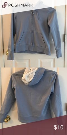 Gap Full Zip Hoodie Gap Stretch Full Zip Light Blue with White Hoodie.  Two Front Pockets with medal Zipper with Circle Pull.  Drawstrings for the Hood and the cutest Elbow Patches.  Minimum Pile.  Priced Accordingly! GAP Tops Sweatshirts & Hoodies