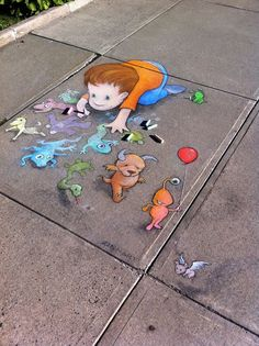 "(link) 3D Chalk Art ~ Amazing Street art of David Zinn Sluggo 752 ~~~ 70+ Sidewalk Chalk Art Of Sluggo By David Zinn | Amazing Street Art Collection ~~ ""SELF PORTRAIT"" ~ for more great PINs w/good links visit @djohnisee ~ have fun!"