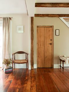 Love these floors-would someday love to refinish our attic in Portland and have wide plank boards on the floor like this.