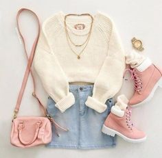 sweater fall outfits pastel pink pastel oversized sweater denim skirt timberland