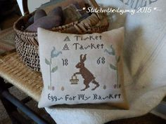 PriMiTiVe - A TisKet , A TaSkeT -- EarLy LOOk EasTeR CrOSs STiTcH PiLLow TucK #NaivePrimitive