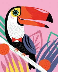 A tropical print to get you in a summery mood, despite the super cold weather we've been getting!  Available @thelandofnod #toucan #tropicalvibes #artforkids #ferns