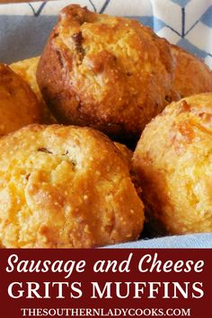 These Sausage and Cheese Grits Muffins are wonderful with soup on a cold day or with any meal. Serve them for breakfast with coffee and eggs. Grits Breakfast, Savory Breakfast, Breakfast Items, Breakfast Dishes, Breakfast Recipes, Breakfast Muffins, Southern Breakfast, Sausage Muffins, Sausage Bread