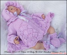 Baby and Doll Hand Knit Designs for Sale Knitting Dolls Clothes, Knitted Baby Clothes, Baby Doll Clothes, Doll Clothes Patterns, Clothing Patterns, Baby Knitting Patterns, Knitting Designs, Baby Patterns, Knitting Yarn