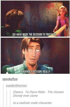 Flynn Rider, the closest Disney came to creating a realistic male character.  (although Frozen's male characters are pretty great too.)