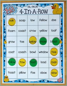 Activities for Teaching the oa/ow/oe Digraphs - Make Take & Teach Free Spelling Games, Jolly Phonics, Phonics Activities, Team Activities, Reading Tutoring, Teaching Reading, Word Reading, Language Study, Spanish Language
