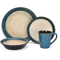 Pfaltzgraff Everyday Aria Teal 16-piece Dinnerware Set ($60) ❤ liked on Polyvore featuring home, kitchen & dining, dinnerware, beige, pfaltzgraff dinnerware sets, teal dinnerware, pfaltzgraff dishes, pfaltzgraff dinner plates and teal dishes