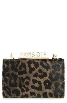 Free shipping and returns on kate spade new york 'cat's meow - ravi' box clutch at Nordstrom.com. Everyone will want to borrow this glamorous little clutch done up in leopard-print calf hair—fortunately, a gilded 'Paws Off' clasp closure features just the right amount of cat-ittude to complete the envy-inducing look.