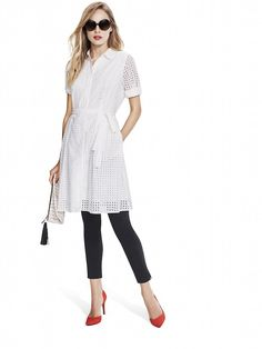 Model wearing white laser cut dot lace shirt dress with black skinny pants red pumps sunglasses - Who What Wear collection @ Target