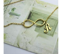 Infinity Style Initial Charm Necklace In Gold Plated Gold Name Necklace, Initial Charm Necklaces, Mother Daughter Fashion, Calligraphy Name, Name Wallpaper, Gold Tattoo, Infinity Jewelry, Alphabet Design, Friend Birthday Gifts