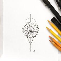 Trendy Ideas Tattoo Women's Delicate Sunflower- Trendy ideas tattoo femi… – foot tattoos for women flowers Sunflower Mandala Tattoo, Dotwork Tattoo Mandala, Sunflower Tattoos, Sunflower Tattoo Small, Lotus Tattoo, Sternum Tattoos, Trendy Tattoos, Cute Tattoos, Beautiful Tattoos