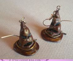 Designed by Etsy user emmivisser so cute to make the sorting hat to earrings!!